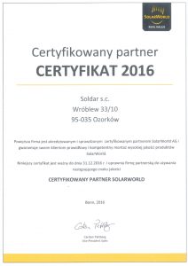 SOLDAR - Certyfikowany Partner SolarWorld